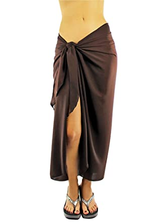a71686d0efda1 Luxury Divas Long Sheer Brown Sarong Cover Up Wrap for Women at Amazon  Women's Clothing store: Fashion Swimwear Cover Ups