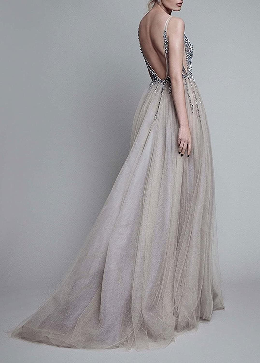 Amazon.com  Prom Dresses Sexy Deep V Neck Sequins Tulle and Lace Sex High  Split Long Evening Dresses  Clothing 56b936ca6