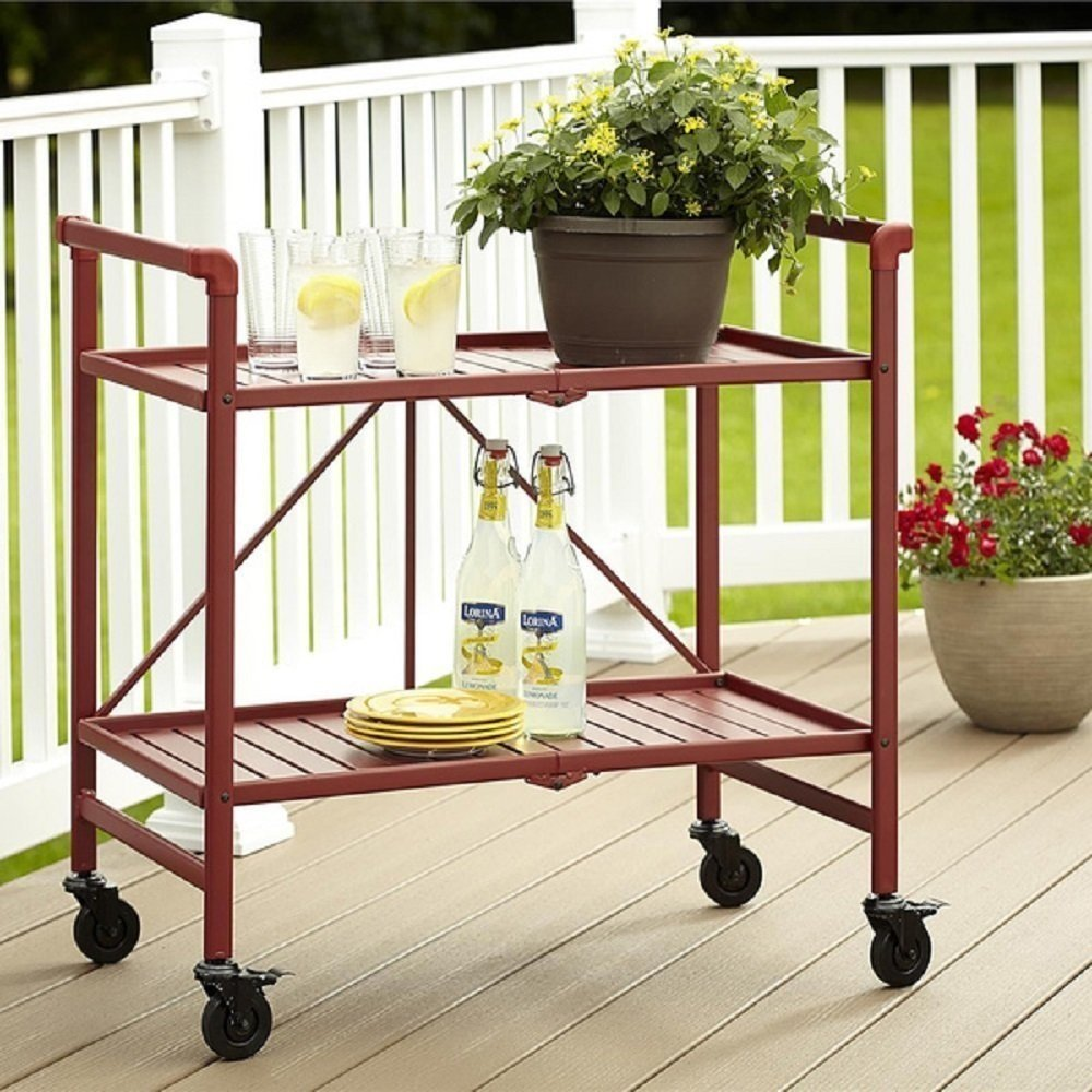 Amazon.com   Rolling Serving Cart Wheels Outdoor Folding Portable Patio  Indoor Trolley Food Cocktail Storage Home Kitchen Furniture Bar Living  Dining Room ...