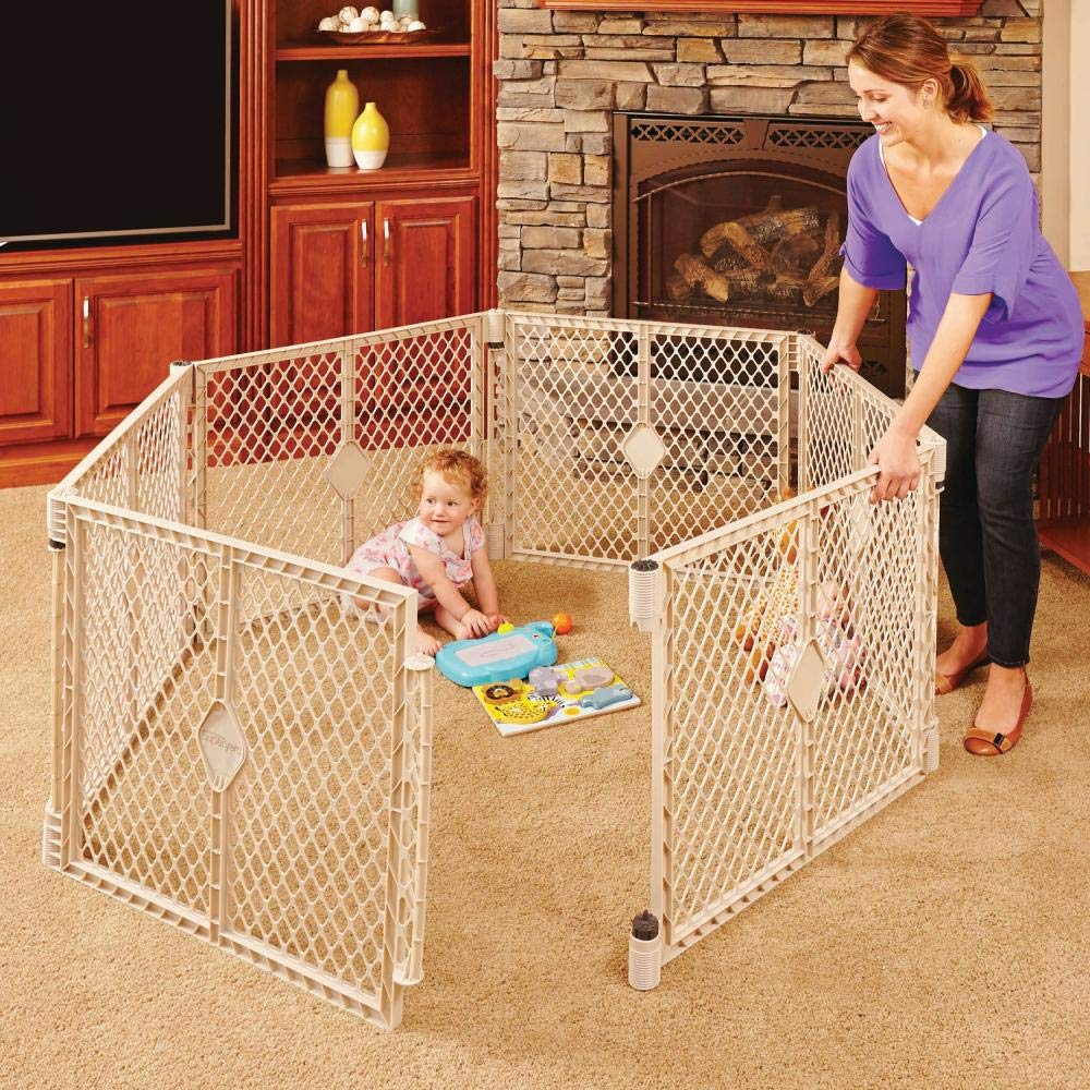 """B00KU11008 Toddleroo by North States Superyard Indoor-Outdoor 6-Panel Play Yard: Safe play area anywhere - Folds up with carrying strap for easy travel. Freestanding. 18.5 sq. ft. enclosure (26"""" Tall, Sand) 718wf7yi4HL"""