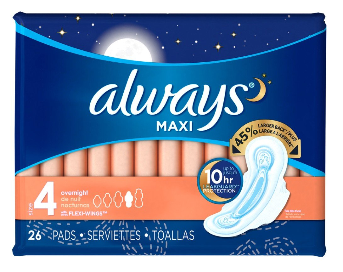 Amazon.com : Always Pads Maxi Overnight Size 4-26 Count (2 Pack) : Beauty