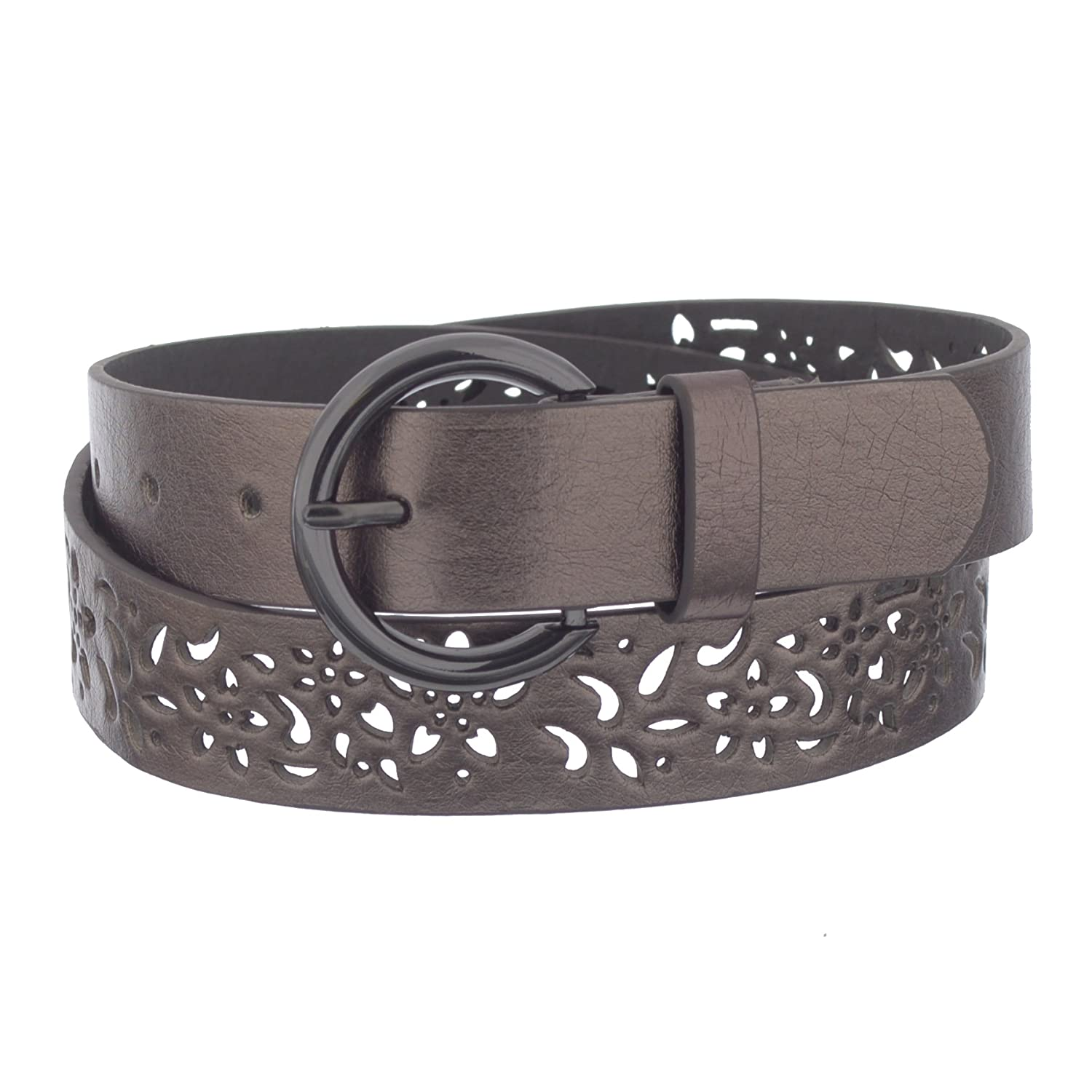 Xcessoire Girls 1 Fashion Leather Belt with Flower Punches LANG_B20096A