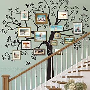 Simple Shapes Staircase Family Tree Wall Decal Tree Wall Decal - (Black, Standard Size: 109.5 w x 105 h Inch)