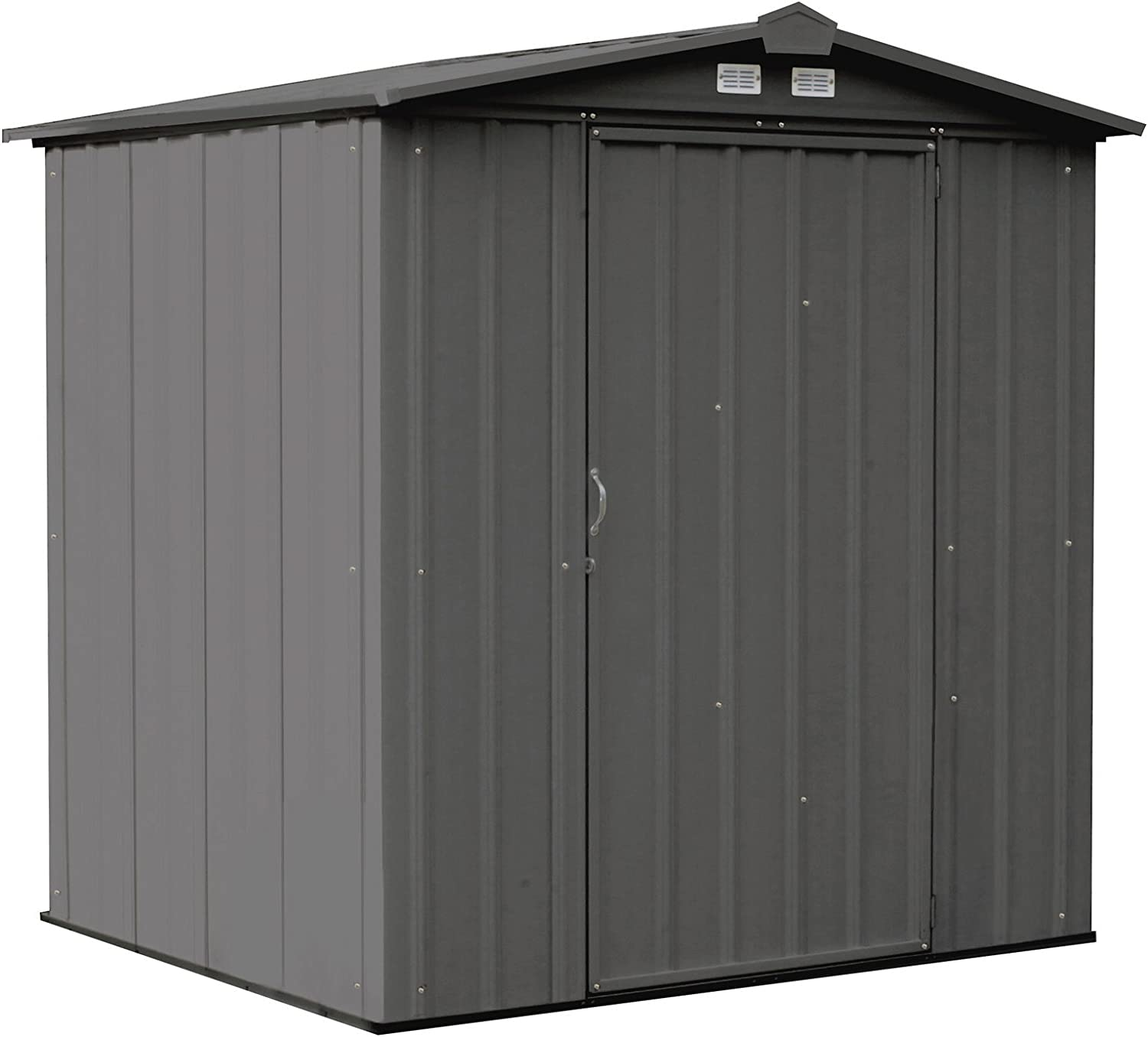 Amazon Com Arrow 6 X 5 Ezee Galvanized Steel Low Gable Shed Charcoal Storage Shed With Peak Style Roof Garden Outdoor