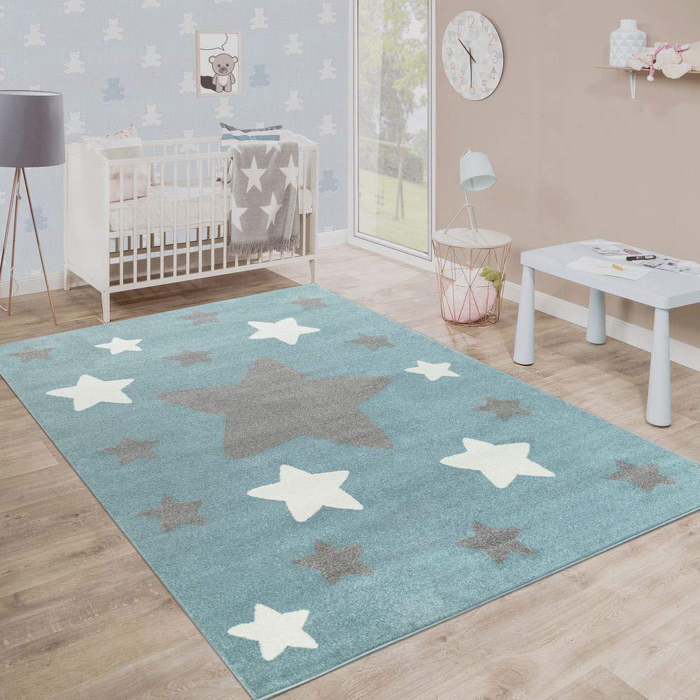 Paco Home Teppich Kinderzimmer Kinderteppich Große Und Kleine Sterne In Blau Grau, Grösse:200x280 cm