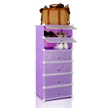 Lifewit Stackable Multi Shoe Rack 6 Cube Shoe Cabinets Toy Organizer Storage  Plastic Drawers Black