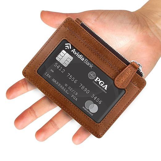 Arvok Tarjetero para Tarjetas de Crédito, Cartera Delgada De Cuero Slim Moda RFID Bloqueo Monedero de Cuero, Mini Billetera para Cartera ID,Tarjetas Crédito ...