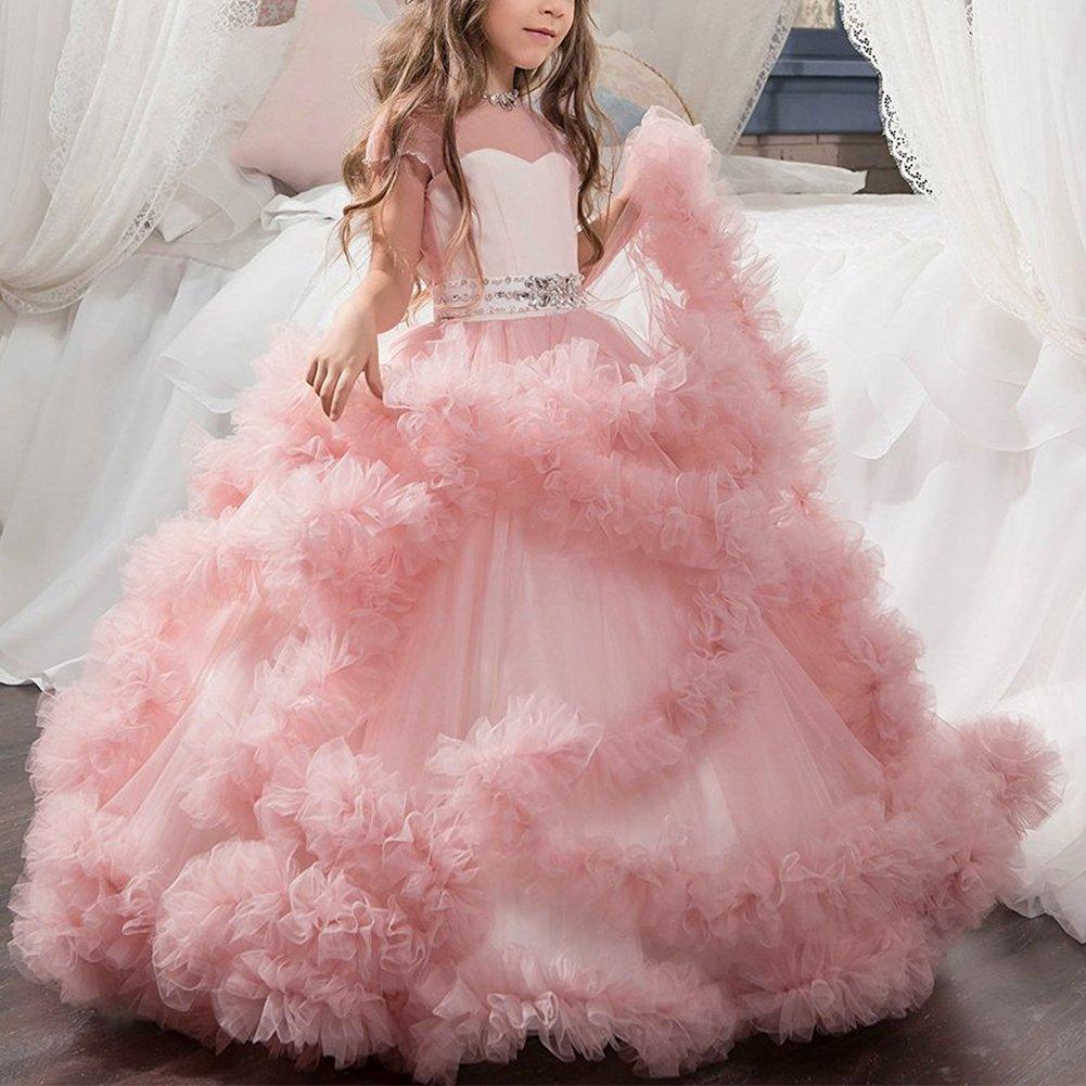 ibtom castillo encaje princesa niña vestido de baile las flores ...