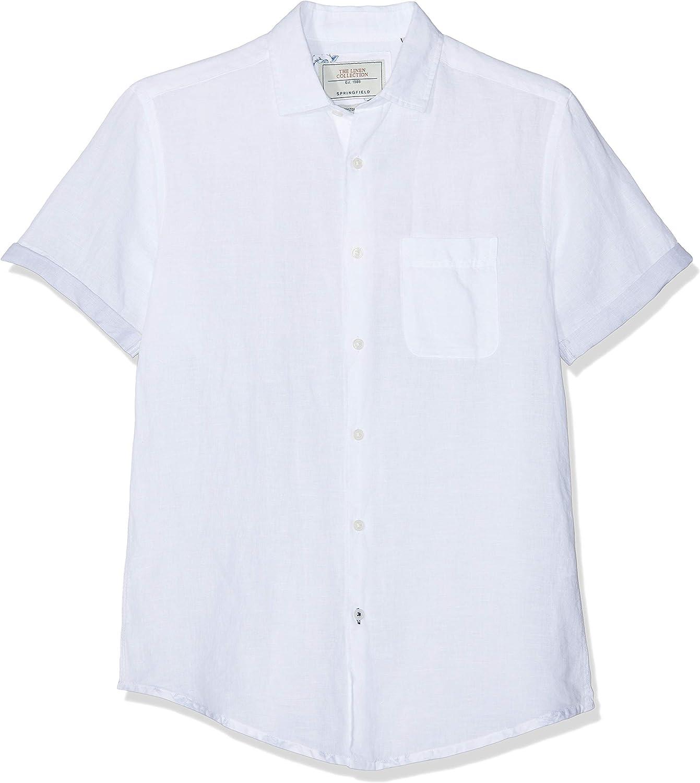 Springfield Fraq Linen Short Camisa Casual, Blanco (Blanco 99), X-Large (Tamaño del Fabricante:XL) para Hombre: Amazon.es: Ropa y accesorios