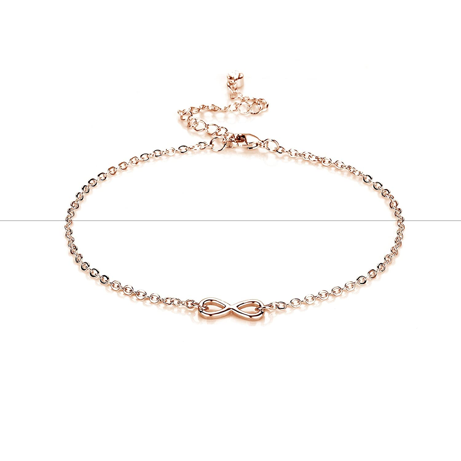 Rose Gold Infinity Anklet with Crystals from Swarovski Philip Jones