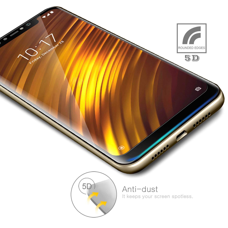 [2-Unidades] 5D Protector de Pantalla para Xiaomi Pocophone F1 Cristal Templado, AROYI [2 Pack] Premium 5D Cristal Vidrio Templado [9H Dureza] Dureza [Marco ...