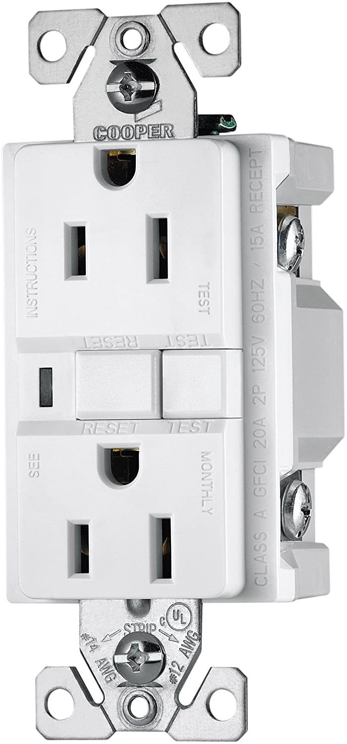 Eaton Vgf15w 15 Amp 2 Pole 3 Wire 125 Volt Duplex Ground Fault Wiring A Gfci Receptacle Circuit Interrupter White Outlets