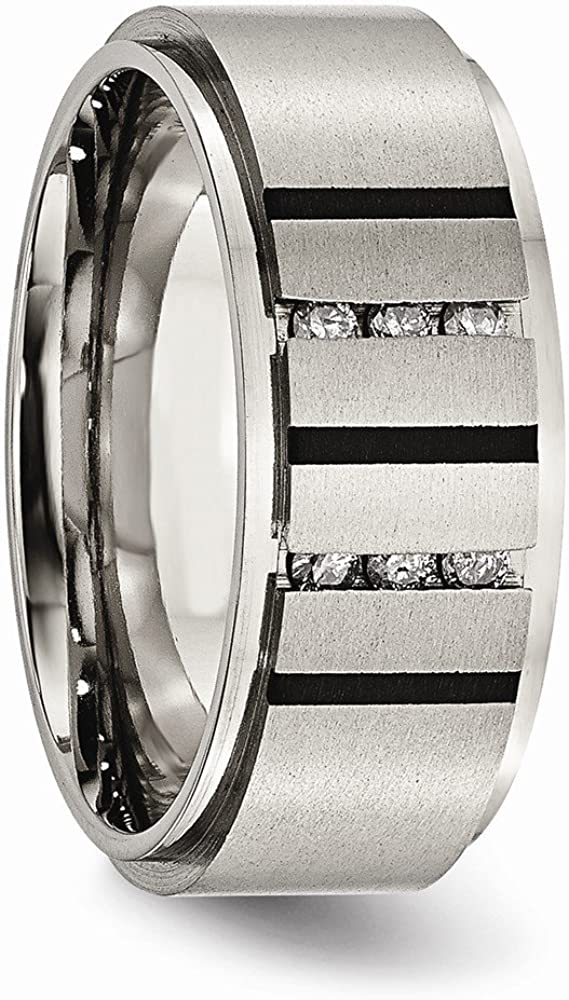Diamond2Deal Stainless Steel Brushed Black IP-Plated Cross 9mm Band Ring Ideal Gifts for Women