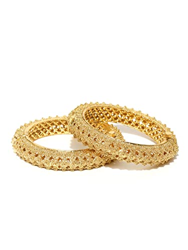 Jewelry & Watches Bridal & Wedding Party Jewelry 18k Gold Plated Fashion Bangle Bracelet Open Screw Bangles Set Of 2 Ethnic Style