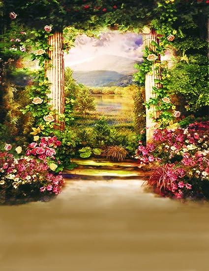 S Garden Flowers Tree Grass Photography Backdrop Photo Background Beautiful  Flower Vinyl 984 IN W