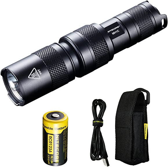 Nitecore MH1C 600 Lumen USB Rechargeable LED Flashlight and Lumen Tactical Adapters