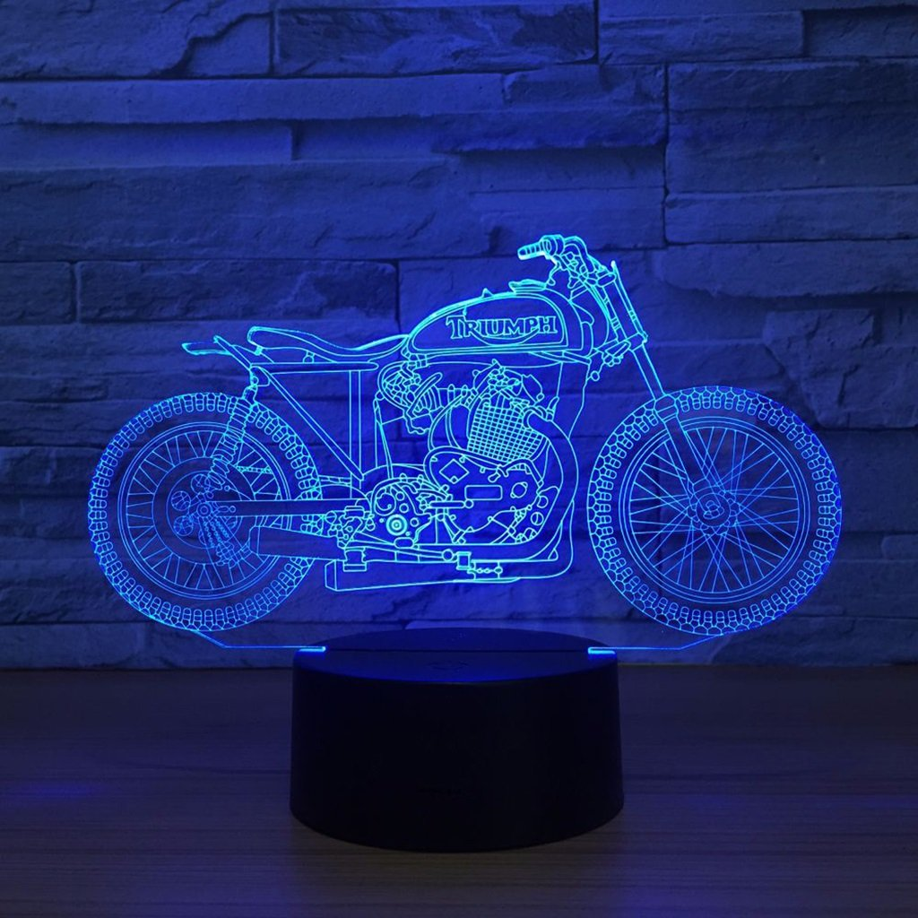WBYD 3D Night Light Visualization Glow 7 Color Change USB Touch Button and Intelligent Remote Control Desk Table Lighting Nice Gift Home Office Decorations Toys (Motorcycle 31)