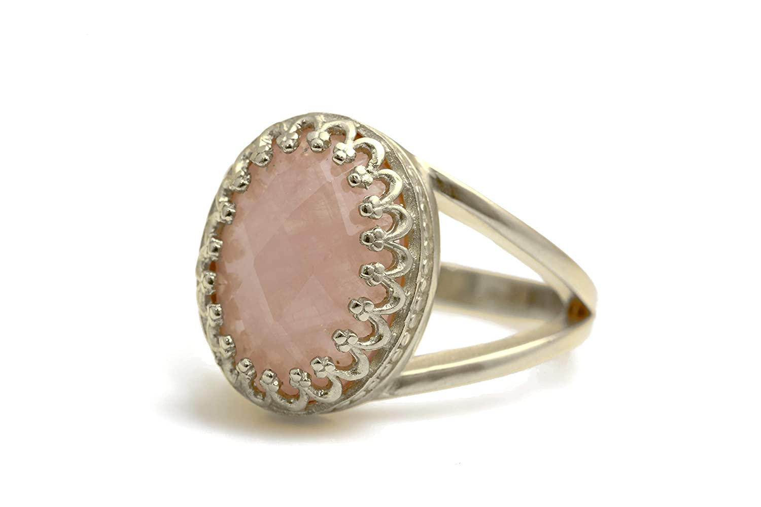 Rose Quartz Ring Adjustable Ring Sterling Silver Ring Hypoallergenic Womens Jewellery Gift For Her Handmade Jewellery Minimalist Style