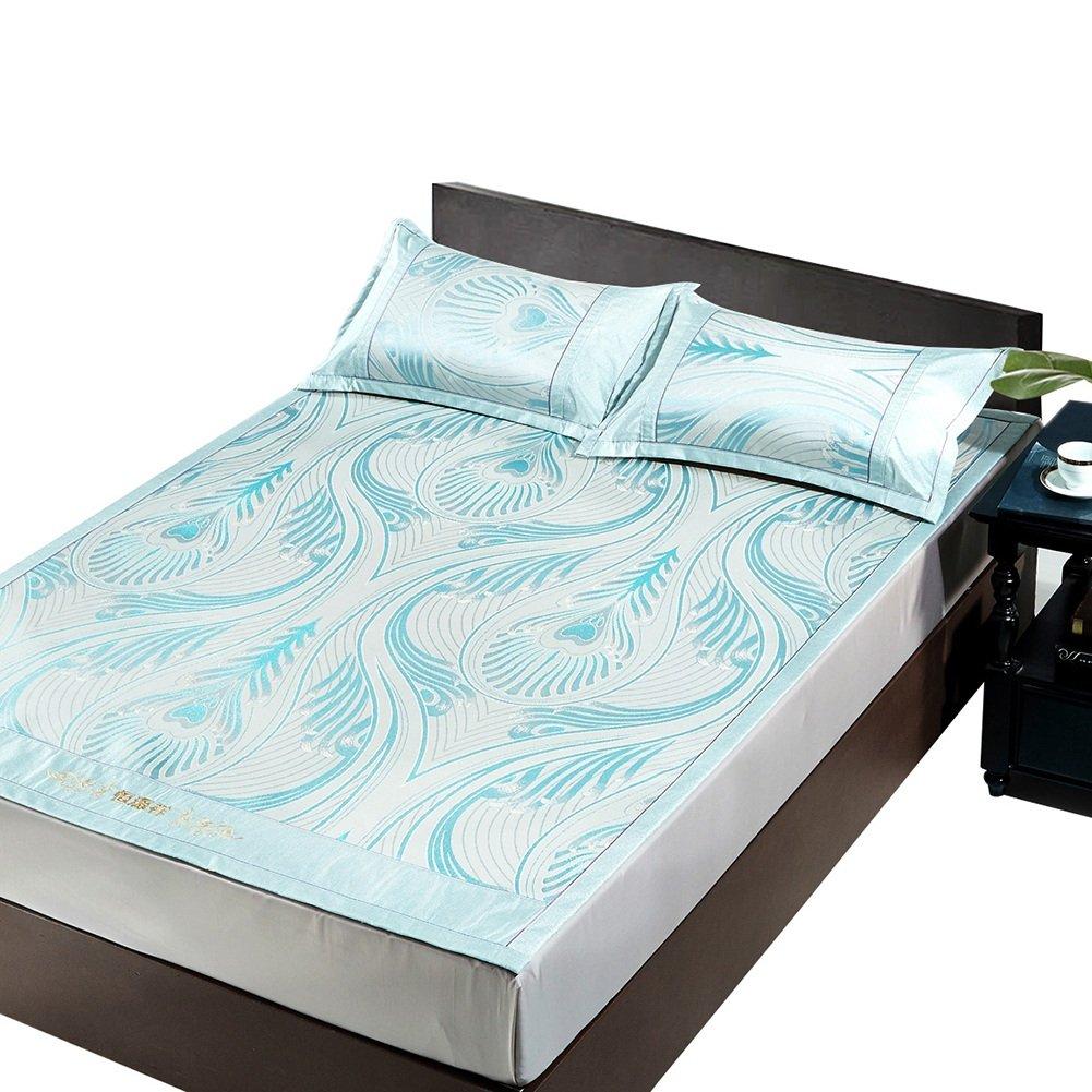 WENZHE Matratzen Sommer-Schlafmatten Strohmatte Teppiche Zusammenklappbar Doppelbett Zuhause Eismatte Hautfreundlich Atmungsaktiv, Mit Kissenbezügen, 1,5/1,8 M (größe : 1.5×2.0m)