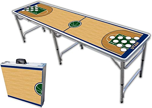 8-Foot Professional Beer Pong Table w Optional Cup Holes - Utah Basketball Court Graphic