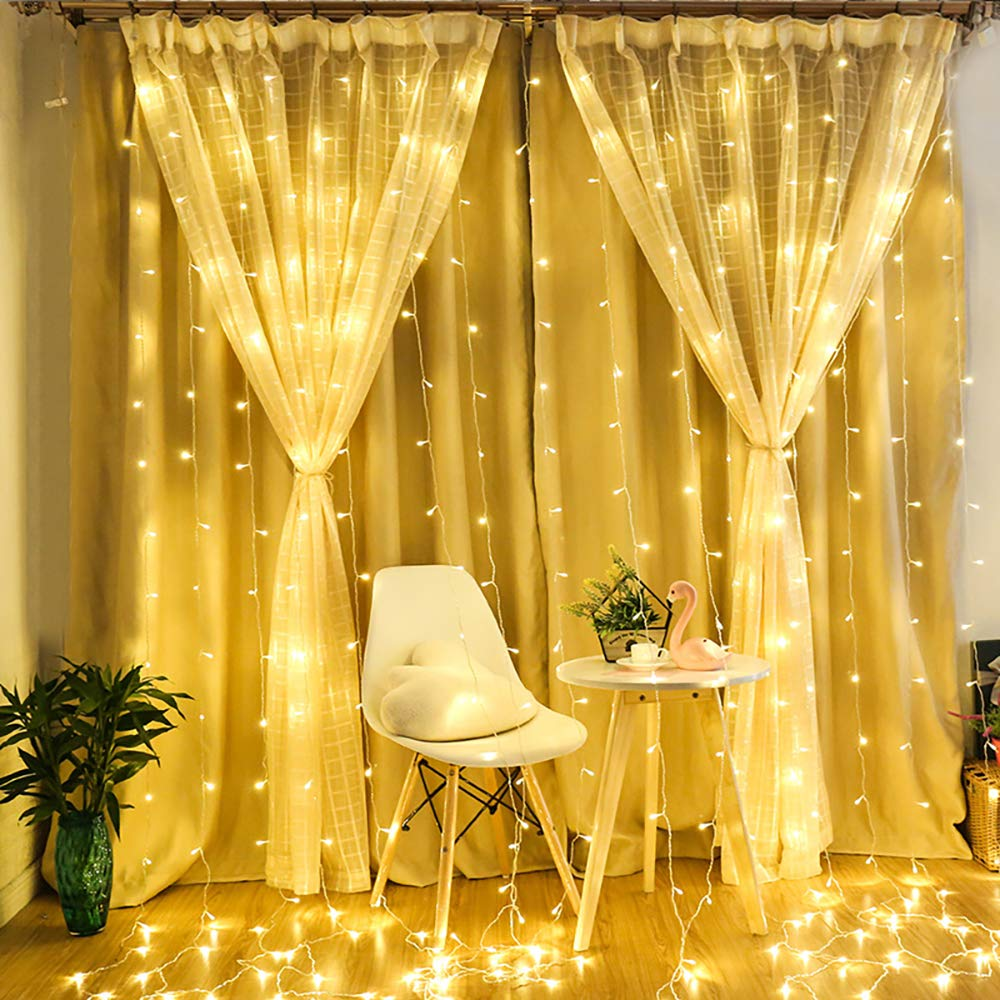 Alanda LED Curtain String Lights 6.6ft x 9.8ft 300 LED Fairy Lights for Window Christmas Wedding Bedroom Party Holiday Decoration 8 Mode Warm White