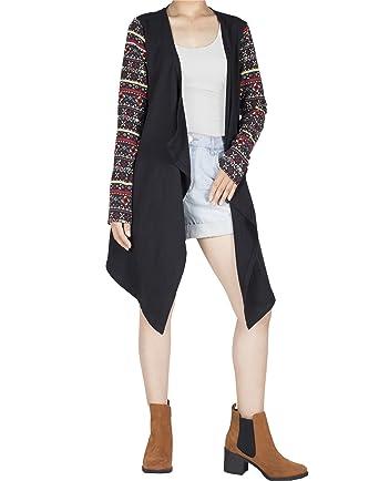 5512822229 Lofbaz Women Cotton Patterned Long Sleeve Elephant Print Cardigan Sweater  Peacock 1 Black   Red M