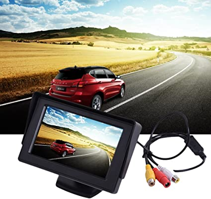Coche Marcha Atrás Sistema de Ayuda para aparcar con visión de TV vídeo 4.3 Pantalla LCD Auto Monitor para vcd/DVD con protección de sol de marco lianle: Amazon.es: Electrónica
