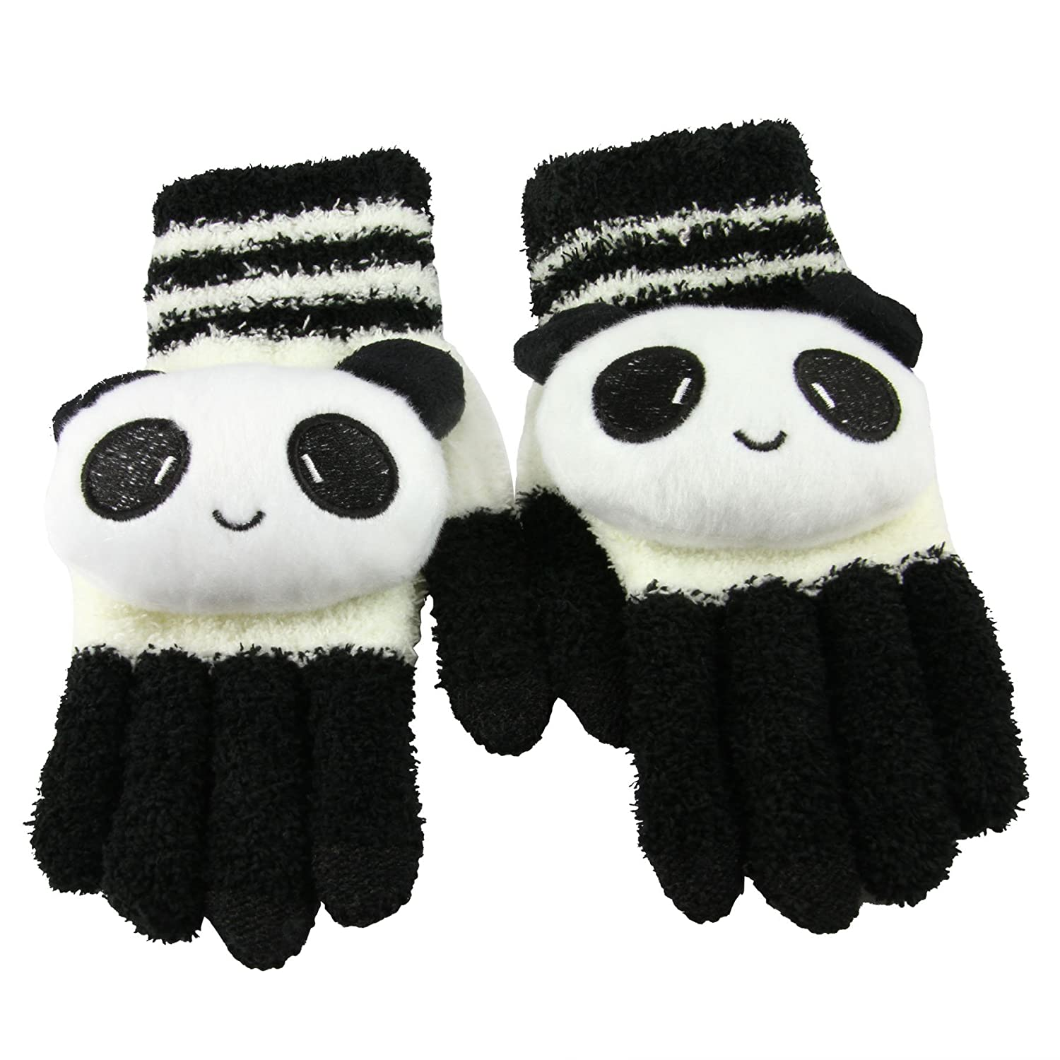 Texting Gloves for Girls//Ladies Black White Panda Great Gift for Christmas Day// New Year iPhone Gloves Greenery Cute Winter Wool Touchscreen Gloves Mitten