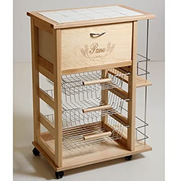 Carrito de cocina de madera para botellas y pan con cajón – Ambrogio Maitre D
