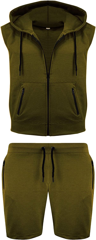 Mens Short Sleeveless Tracksuit Gilet Corduroy Pocket Hoodie Jogging Bottom S-XL