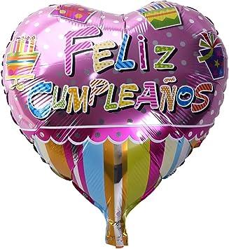 TOYMYTOY 18 Pulgadas de Forma de corazón española Feliz cumpleaños Foil Globo Partido Mylar Globos para la decoración de Fiesta de cumpleaños (5): Amazon.es: Juguetes y juegos