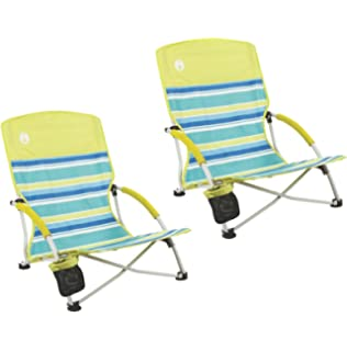 Coleman (2) Utopia Breeze Beach Sling Camping Chairs W/Cup Holder + Carry