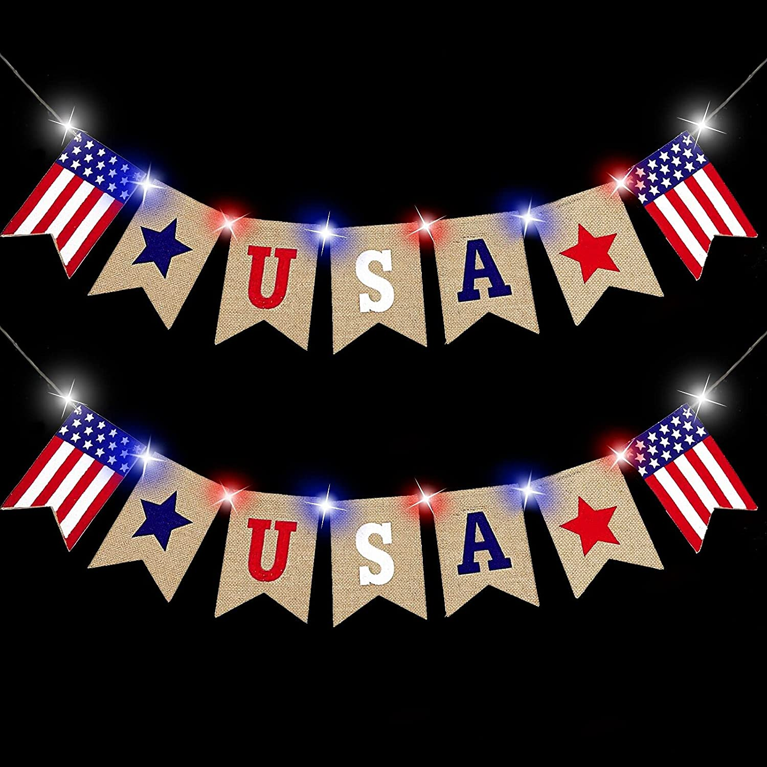 2 Pack 4th of July Decoration Burlap Banner with Lights, American Flag US Banner Bunting Red White Blue Lights Patriotic Decoration for Home Indoor Outdoor Independence Day Party Supplies