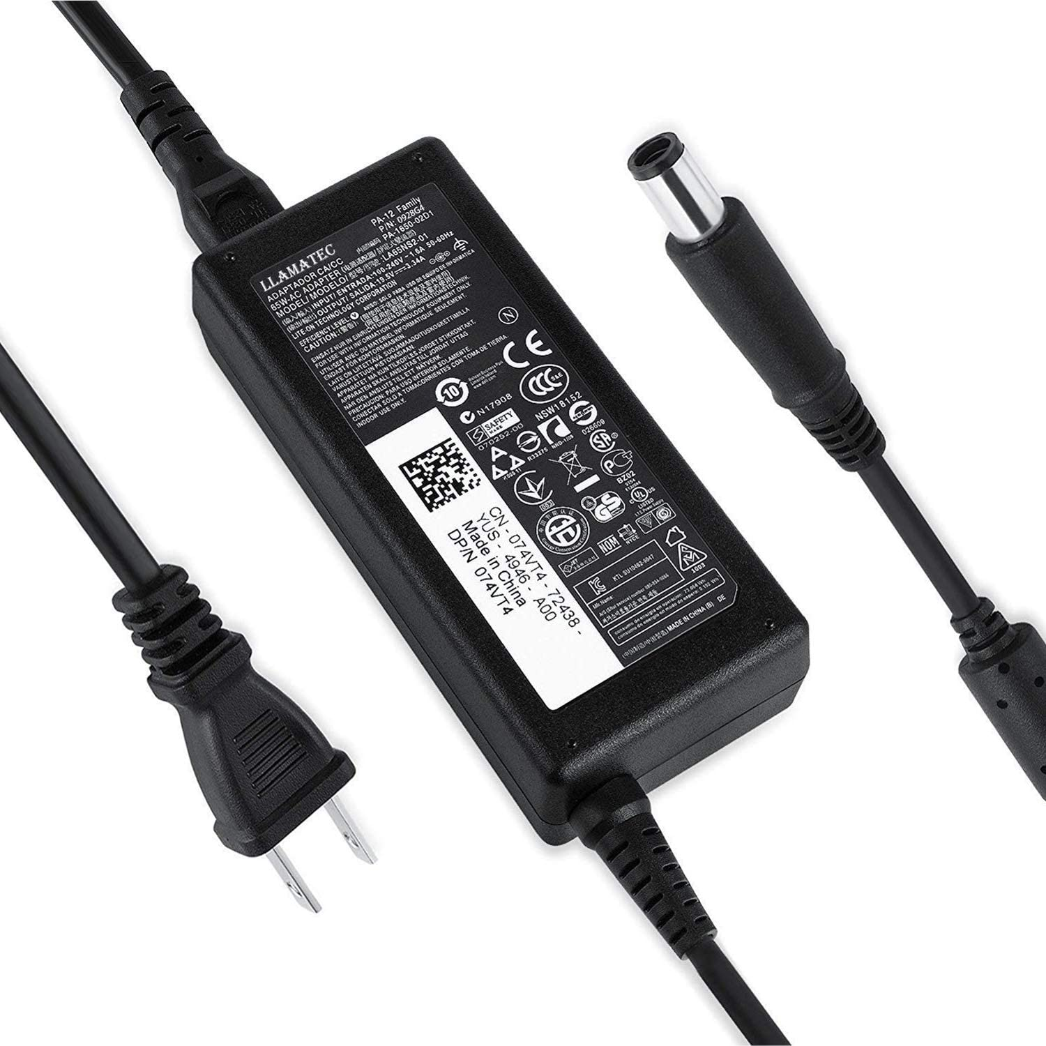65W AC Charger for Dell Inspiron 15 (3520),Inspiron 15 (3521), Inspiron 15 (3537), Inspiron 15R (5520), Inspiron 15R (5521), Inspiron 15R (7520), Inspiron 15R N5110 Laptop Power Supply Adapter Cord
