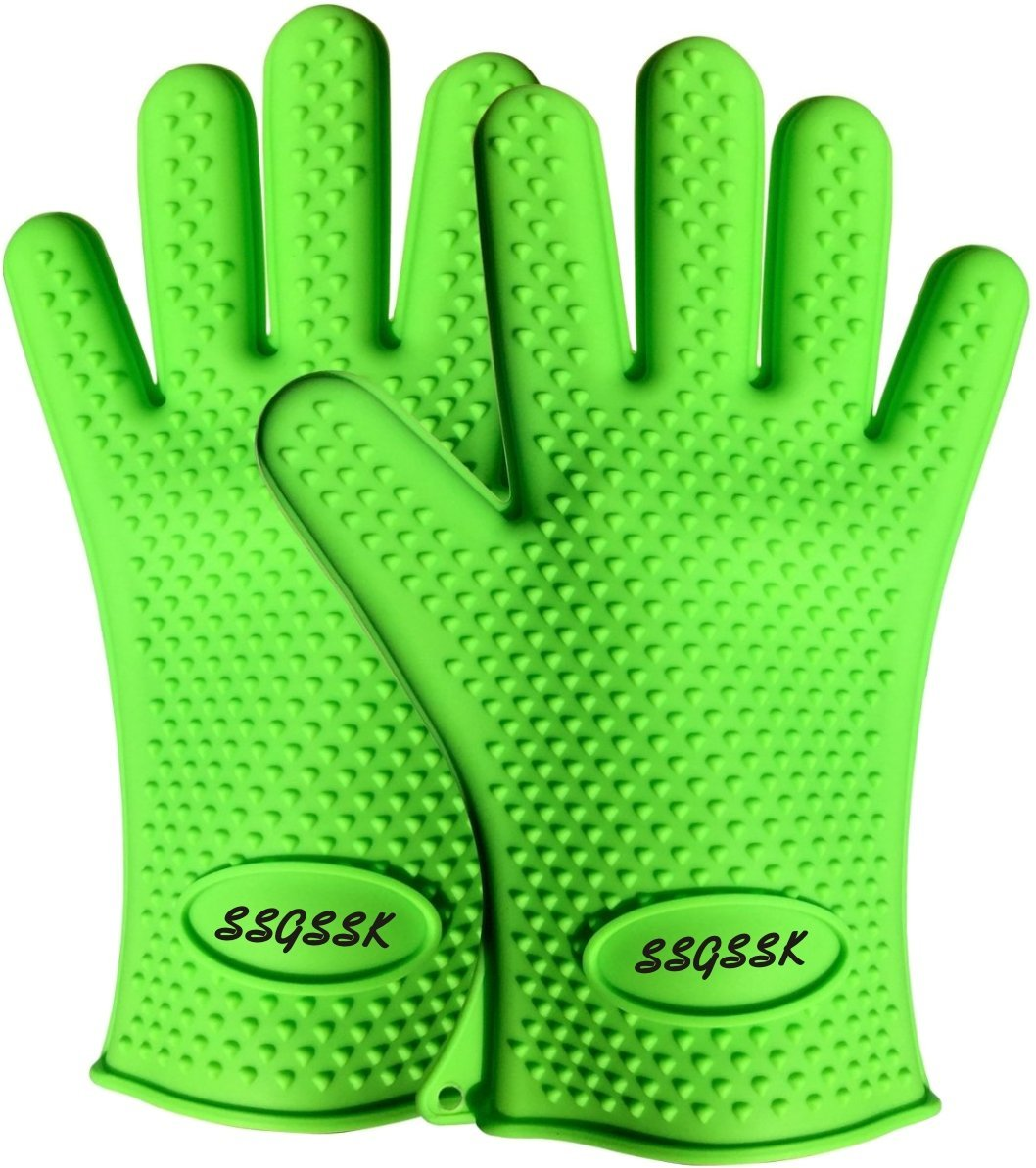 SSGSSK Safety gloves set Gray color 1pair cut resistant gloves/& Green color 1pair heat resistant bbq silicone gloves GREEN + GRAY