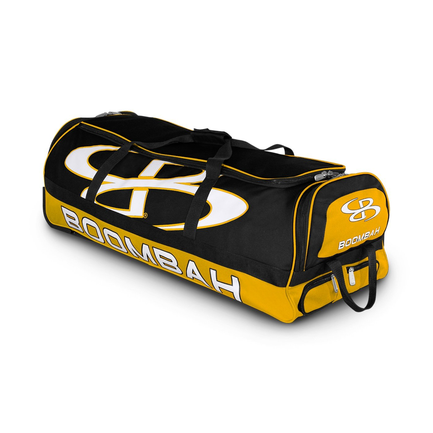 Boombah Brute Rolling Baseball/Softball Bat Bag - 35'' x 15'' x 12-1/2'' - Black/Gold - Holds 4 Bats and Room for Gear - Wheeled Bag