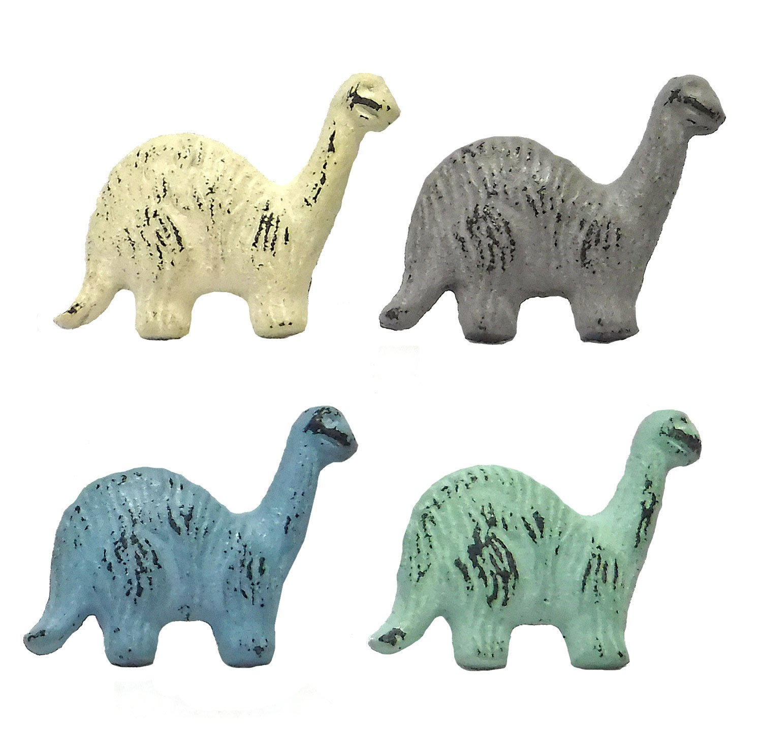 Set of Four Cast Iron Dinosaur Drawer Pulls in Pastel Colors