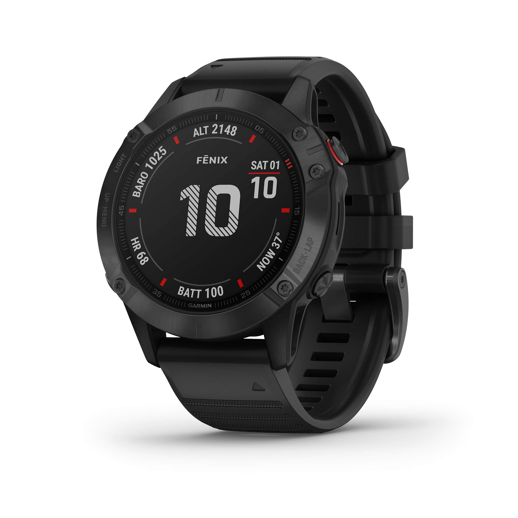 Garmin Fenix 6 Pro, Premium Multisport GPS Watch, Features Mapping, Music, Grade-Adjusted Pace Guidance and Pulse Ox Sensors, Black (Renewed) by Garmin
