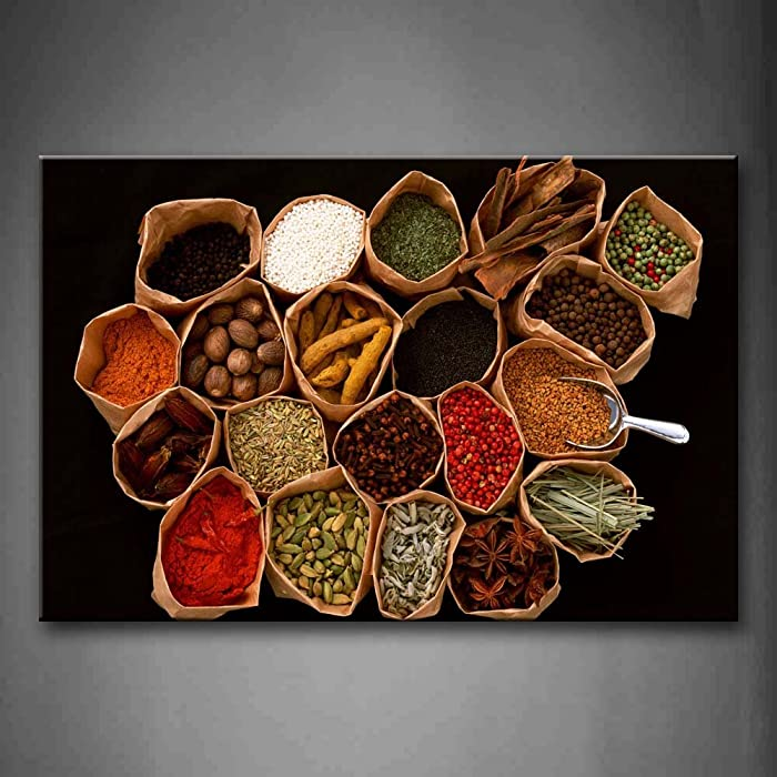 First Wall Art - Brown Various Colorful Herbs and Spices Wall Art Painting The Picture Print On Canvas Food Pictures for Home Decor Decoration Gift