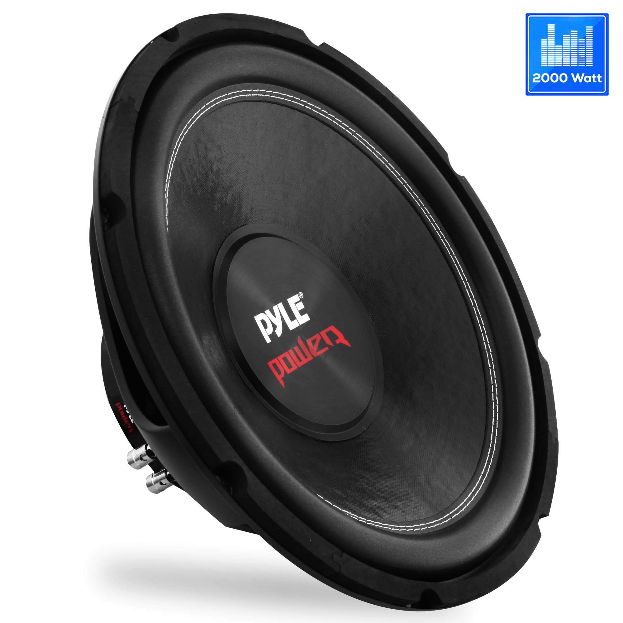 Car Vehicle Subwoofer Audio Speaker - 15inch Non-Pressed Paper Cone, Black Steel Basket, Dual Voice Coil 4 Ohm Impedance, 2000 Watt Power, Foam Surround for Vehicle Stereo Sound System - Pyle PLPW15D by Pyle