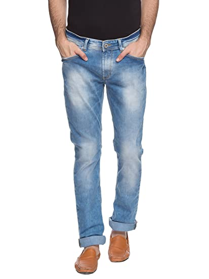 cf8670d79a4526 Spykar Mens Light Blue Slim Fit Low Rise Jeans (Rico): Amazon.in: Clothing  & Accessories