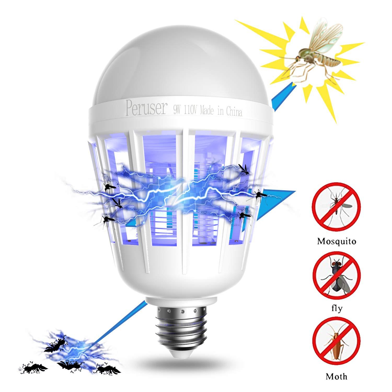 Peruser Bug Zapper Light Bulb 3 In 1 Anti Mosquito Killer Lamp E26 Circuit E27 Pest
