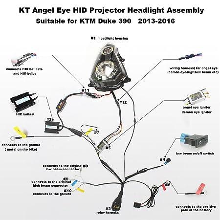 amazon com: kt headlight assembly for ktm duke 390 2013-2016 white angel  eye: automotive