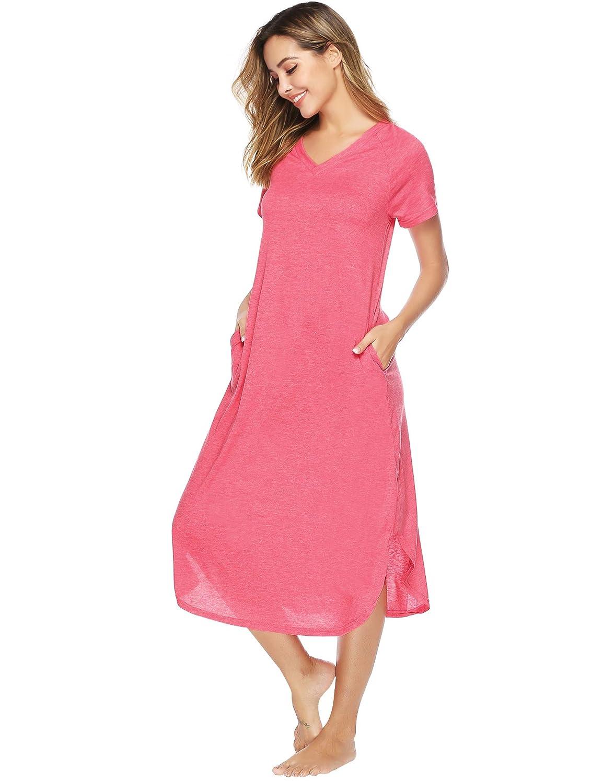 Donna Pigiama Cotone Estivo Aibrou Camicia da Notte Donna Maniche Corte con Tasca Vestito Pigiama Donna Lungo per Casa Casual Spiaggia