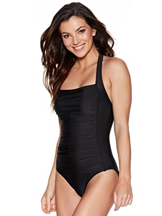 95d0fc6c9c553 M&Co Ladies Swimwear Black Padded Square Halter Neck Ruched Tummy Control  Slimming One Piece Swimsuit Black