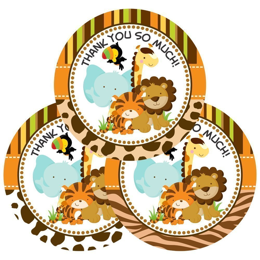 Jungle Safari Animals Thank You Stickers for Baby Shower or Birthday Party - Set of 30