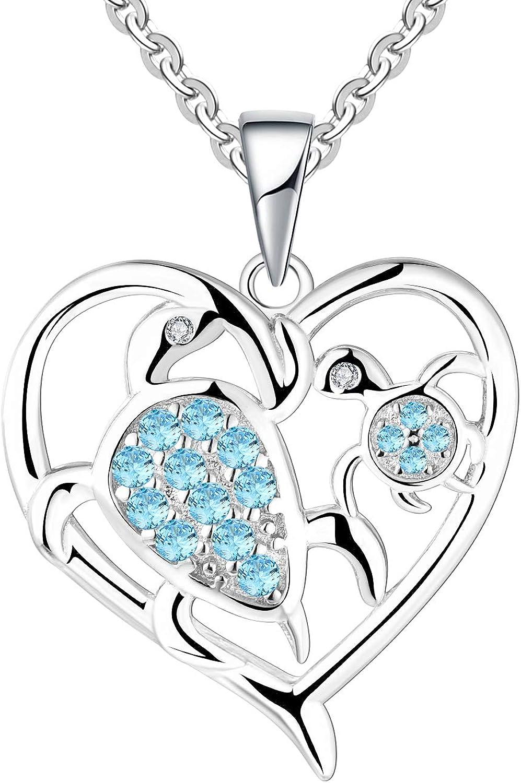 JO WISDOM Collares Colgante Mujer Plata de Ley 925 Tortuga Madre Hija amor desde el Corazón AAA Circonita Cristales Swarovski Mujer Joyería,regalo para mamá