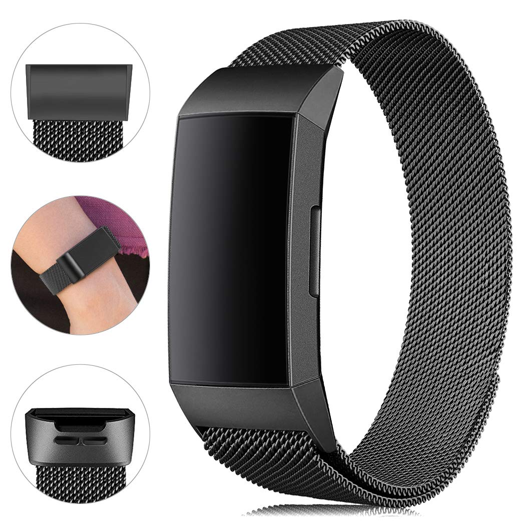 Find-MyWay Replacement Compatible Charge 3 Bands /Charge3 SE Metal Bands Wristband Accessory Magnetic Breathable Sport Bracelet Strap Small & Large for Women Men Silver Black Rose Gold Blue 10 Colors by Find-MyWay