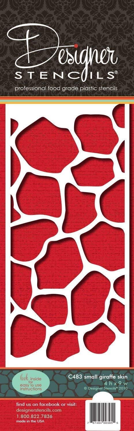 Beige//Semi-Transparent Renewed 4-Inch Designer Stencils C483 Giraffe Skin Side Cake Stencil