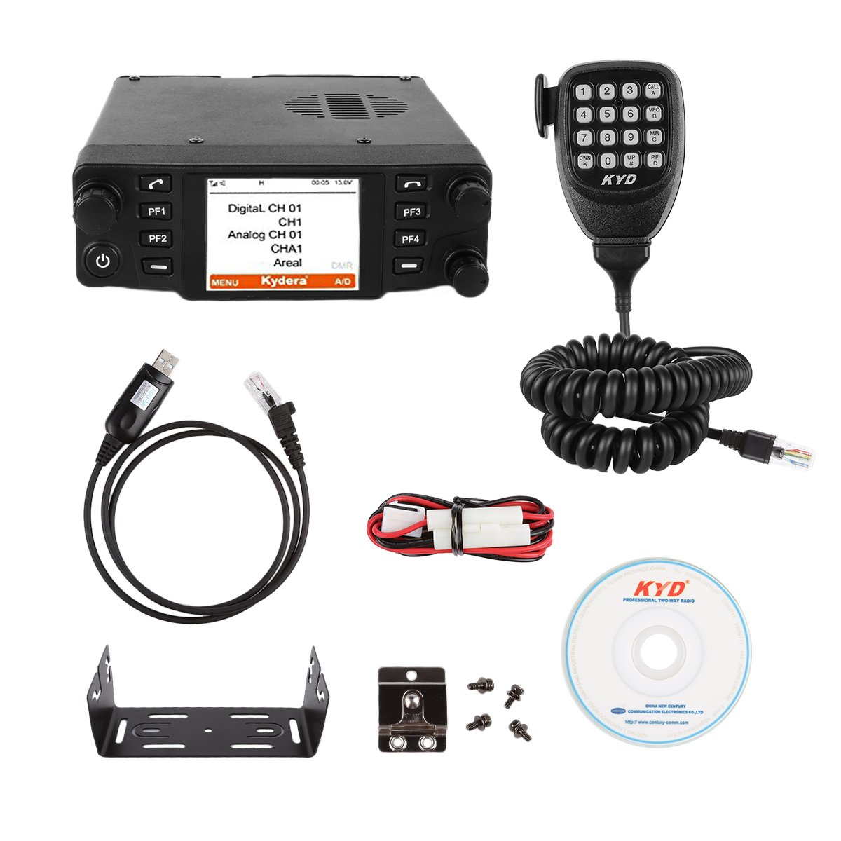 Kydera CDM-550H DMR 400-430 440-480Mhz UHF Large LCF Display 40W 25KM Digital Car Radio Ham Transceiver, with Programming Cable & Software by KYDERA (Image #5)